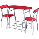 more details on Miami Red Glass Dining Table and 2 Chairs Breakfast Set.