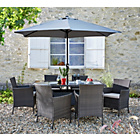 more details on The Collection Fiji 6 Seater Rattan Patio Set - Grey.