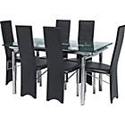 more details on Hygena Savannah Clear Glass Dining Table and 6 Black Chairs.