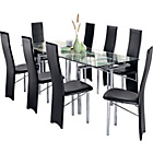 more details on Hygena Savannah Clear Glass Dining Table and 8 Black Chairs.