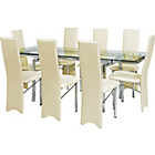 more details on Hygena Savannah Clear Glass Dining Table and 8 Cream Chairs.