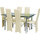 more details on Hygena Savannah Clear Glass Dining Table and 6 Cream Chairs.