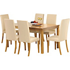 more details on Hampton 150cm Oak Stain Table and 6 Cream Midback Chairs.