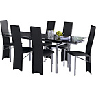 more details on Hygena Savannah Black Glass Dining Table and 6 Black Chairs.