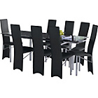 more details on Hygena Savannah Black Glass Dining Table and 8 Black Chairs.