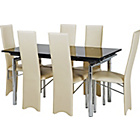 more details on Hygena Savannah Black Glass Dining Table and 6 Cream Chairs.