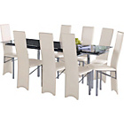 more details on Hygena Savannah Black Glass Dining Table and 8 Cream Chairs.