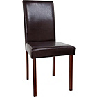 more details on HOME 2 Leather Effect Mid Back Chairs-Walnut Stain/Chocolate