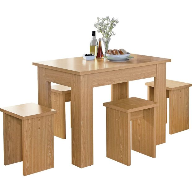 Buy HOME Legia Space Saver Dining Table And 4 Stools Oak Effect At