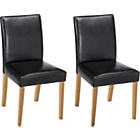 more details on Aston Pair of Black Leather Effect Chairs - Oak.