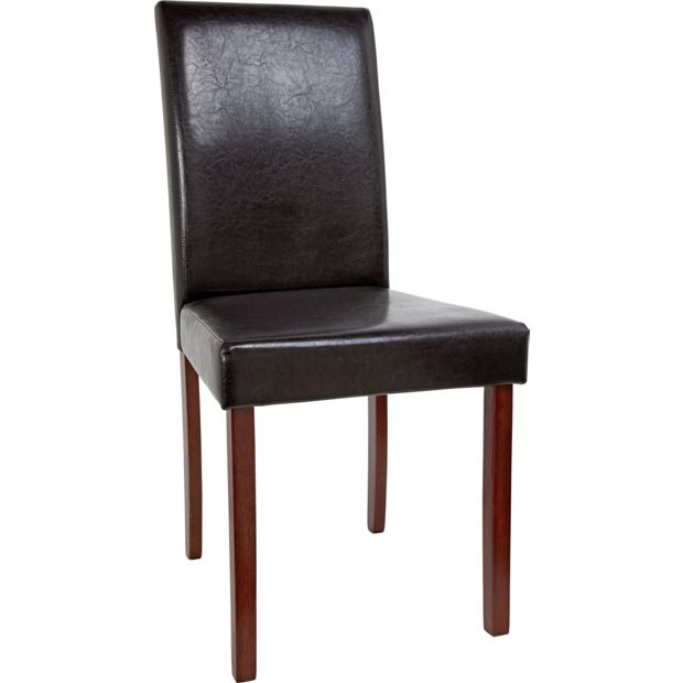 Buy Home 2 Leather Effect Mid Back Chairs Walnut Stain