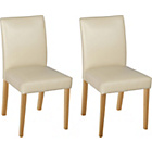 more details on Aston Pair of Cream Leather Effect Chairs - Oak.