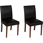 more details on Aston Pair of Black Walnut Leather Effect Dining Chairs.