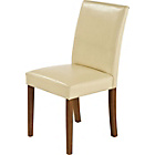more details on Aston Pair of Cream Leather Effect Chairs - Walnut.