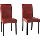 more details on Aston Pair of Red Leather Effect Chairs - Black.