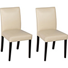 more details on Aston Pair of Cream Leather Effect Chairs - Black.