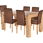 more details on Living Marlow Dining Table and 6 Midback Chocolate Chairs.