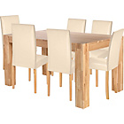 more details on Living Marlow Dining Table and 6 Midback Cream Chairs.