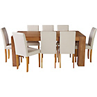 more details on Living Marlow Dining Table and 8 Midback Cream Chairs.
