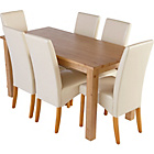 more details on Erin Oak Dining Table and 6 Cream Skirted Chairs.