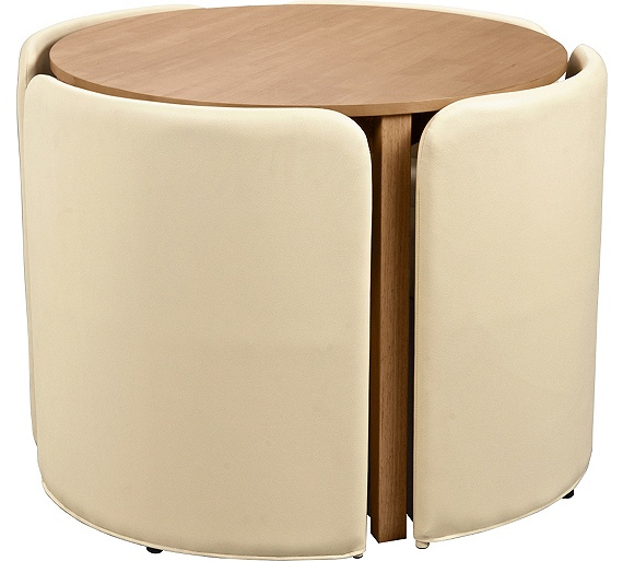 Buy hygena wooden space saver table and 4 chairs cream for Table th spacing