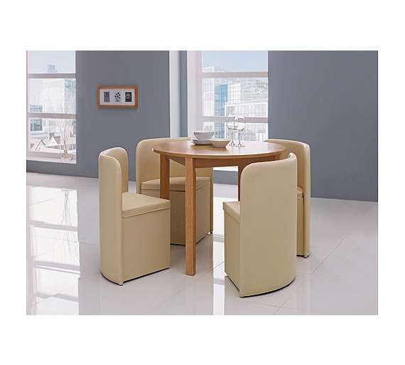 Buy Hygena Wooden Space Saver Table And 4 Chairs Cream