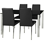 more details on Hygena Naples Black Dining Table and 4 Black Chairs.