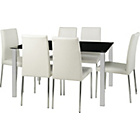 more details on Hygena Naples Black Dining Table and 6 White Chairs.