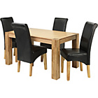 more details on Marston Oak Dining Table and 4 Black Scroll Back Chairs.