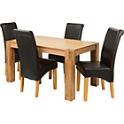 more details on Marston Oak Dining Table and 4 Chocolate Scroll Back Chairs.