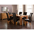 more details on Marston Oak Dining Table and 6 Chocolate Scroll Back Chairs.