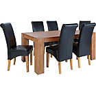 more details on Marston Oak Dining Table and 6 Black Scroll Back Chairs.