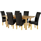 more details on Tring Oak Dining Table and 6 Black Chairs.