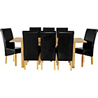 more details on Tring Oak Dining Table and 8 Black Chairs.
