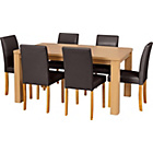 more details on Swanley Oak Dining Table & 6 Chocolate Leather Effect Chairs