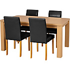 more details on Swanley Oak Dining Table and 4 Black Leather Effect Chairs.