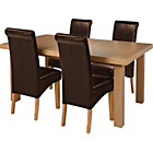 more details on Wickham Oak Dining Table & 4 Chocolate Leather Effect Chairs