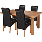more details on Wickham Oak Dining Table and 4 Black Leather Effect Chairs.