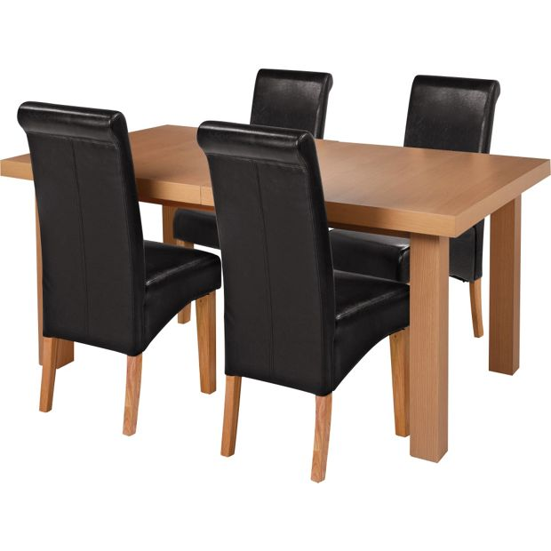 dining table 4 chairs oak veneer black at your online