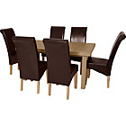 more details on Wickham Oak Dining Table & 6 Chocolate Leather Effect Chairs