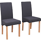 more details on Pair of Oak Effect Charcoal Fabric Skirted Dining Chairs.