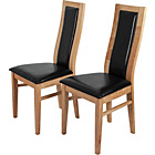 more details on Pair of Warwick Oak Effect Dining Chairs - Black.
