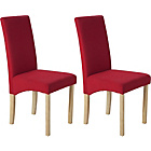 more details on Pair of Oak Effect Red Fabric Skirted Dining Chairs.