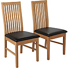 more details on HOME Paris Pair of Mid Back Dining Chairs - Oak Stain/Black.