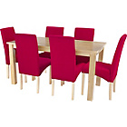 more details on Erin Dining Table and 6 Fabric Chairs - Oak/Red.