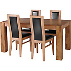 more details on Warwick Oak Dining Table and 4 Black Chairs.