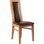 more details on Pair of Warwick Oak Effect Dining Chairs - Chocolate.