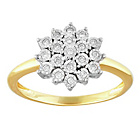more details on Miracle Sparkle 9ct Gold 0.10ct tw Diamond Cluster Ring.