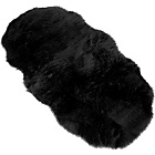 Faux Fur Double Sheep Shape Rug - Black - 75 x 133cm
