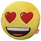 more details on Emoji Round Heart Eyes Cushion - Yellow.